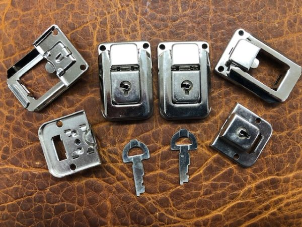 Nickel Plated Small Hasps and Keys - These can be locked - Sold in Pairs with Two Keys