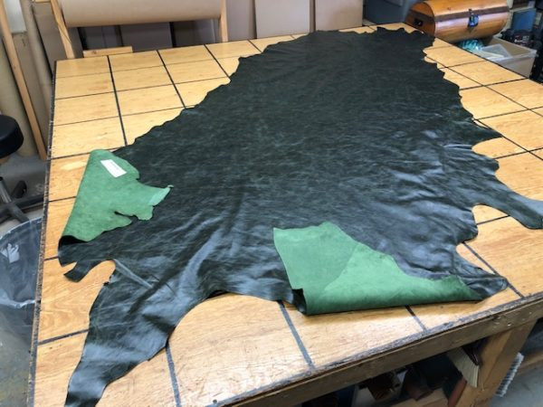 Deep Forest Green Large Hide is soft leather for garments or upholstery work