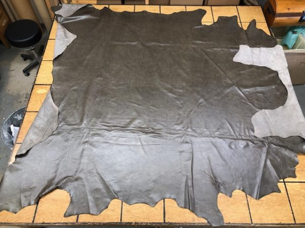 Mid Gray-Green Large Hide is soft leather for garments or upholstery work