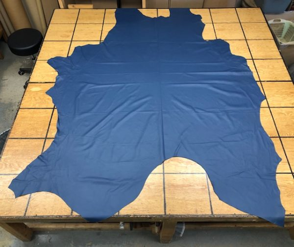 Chromium tanned whole cattlehide in blue, thin and soft