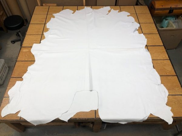 Leather Whole Hides of USA Steers, Vivid White Color, 44-48 square feet each