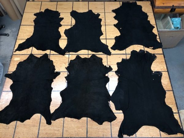 Whitetail Deer Hides in Black, Chrome Tanned, Split to 2 oz (0.8 mm), Suede on One Side and SOFT