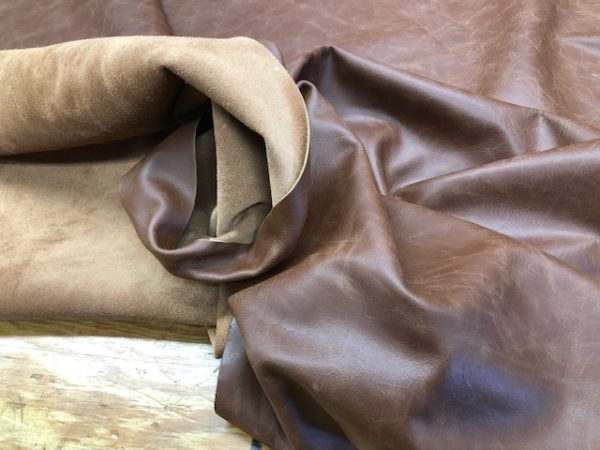 Whole Hides: Plain Old Brown Crinkle Pattern Leather Whole Hide