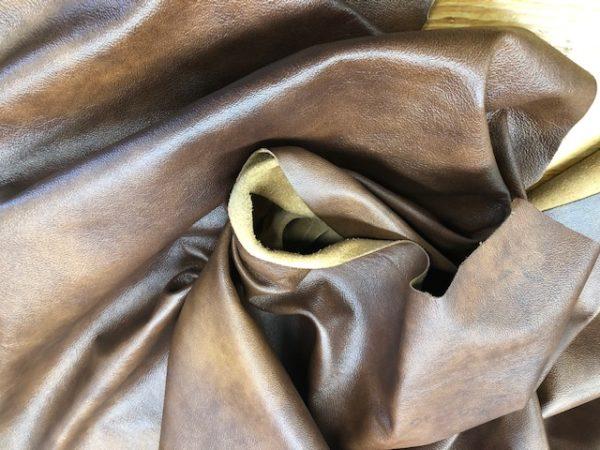 Whole Hides of Chromium Tanned Leather: Dark Oak Garment Grade USA Cattlehide