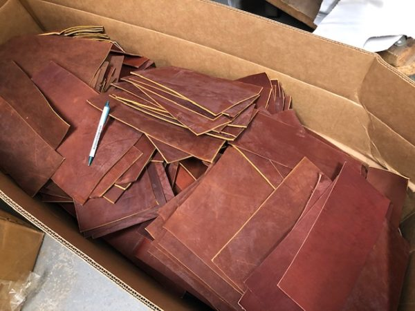Firm Latigo Leather Scrap Pieces in Dark Red-Brown Color 7-8 oz Thickness Sold by the Pound
