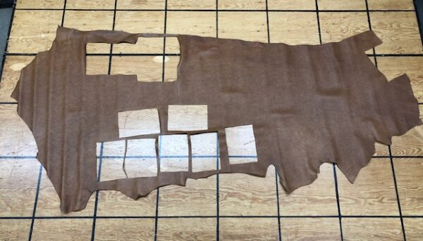 Clearance Leather Hide 134 Pecan Brown Basket Weave Partial Side