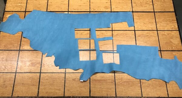 Clearance Leather Hide 138 is a Sky Blue 4.5 Ounce Nubuc Leather Panel