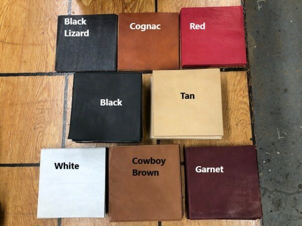 Leather Project Panels, 8 inches by 8 inches in a variety of colors