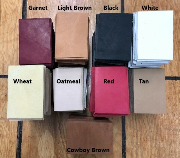 Small Leather Rectangles, 2.75 by 4 inches, in a variety of colors, for small projects