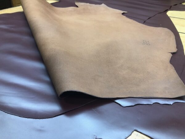 VERY SMOOTH Dark Brown LARGE Leather Sides are Chromium Tanned and Patent Finished