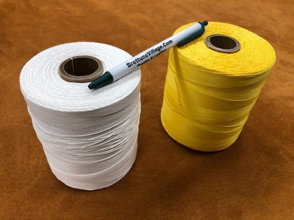 One Pound Spools of Machine or Handsewing Leather Craft Thread in White or Lemon Yellow