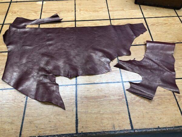 Set of panels of metallic bronze finish Chromium tanned leather