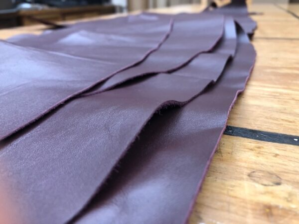 Set of Panels of Chrome Tanned USA Cattlehide leather in Wine