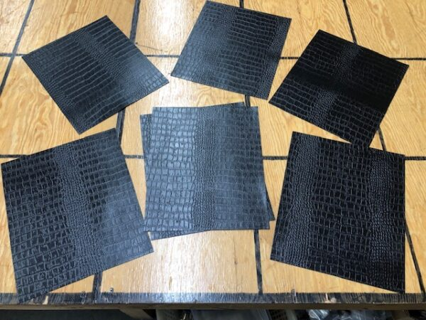 Leather Project Panels: Crocodile-embossed cattlehide in black, 10 inches by 12 inches each