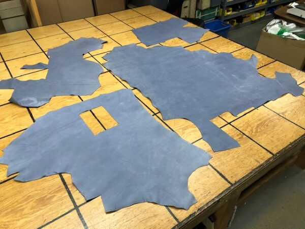 Leather Hide Clearance Sale 189 Set of Blue-Gray Nubuc Panels Sold as a Set with Free USA Shipping