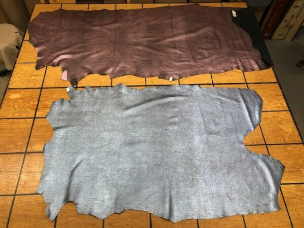 Leather Hide Clearance Sale Items 203 and 204 Metallic String Print Sides