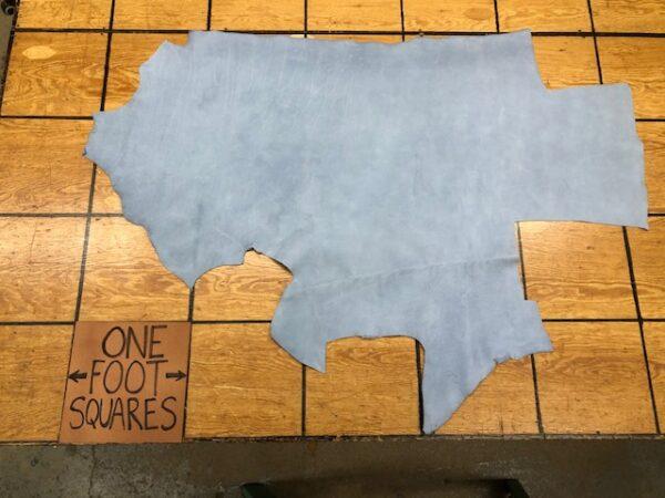 Leather Hide Clearance Sale Item 209 Powder Blue Nubuck Panel 15 sq ft 4 oz