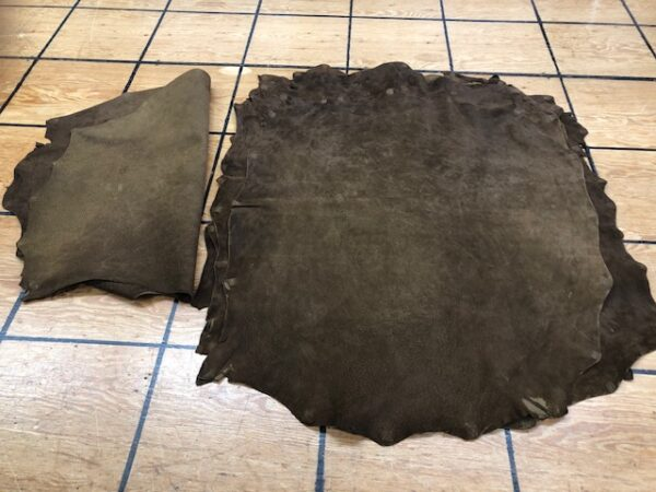Dark Brown Suede Pig Skin Hides for garments, bags, pouches, moccasins, and many more