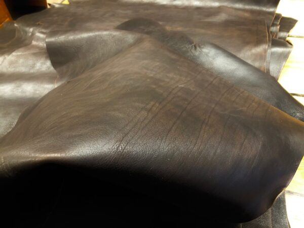 Dark Brown 6 Ounce USA Steer Hide Double Shoulders are Waxy and Water Resistant