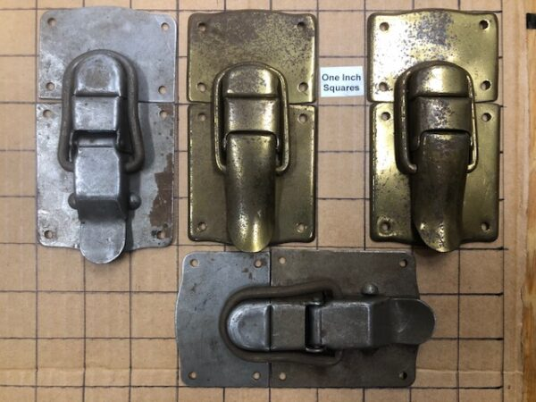 HASP-5 Pair of Rusty Steel or Aged Brass Large Trunk Hasps or Drawbolts - New Old Stock