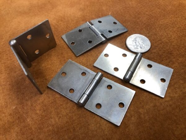 Small Simple Flap Hinges in Nickel Plated Steel for Small Trunks Cases and Boxes