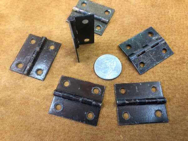 Small Brass Box Case or Trunk Hinges in Old Paint Sold By The Pair