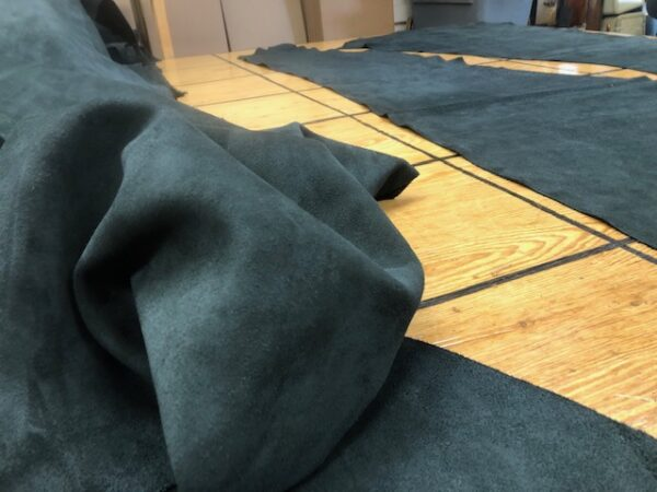 USA Cattlehide Chromium Tanned Suede Splits in Black 12 to 14 square feet each
