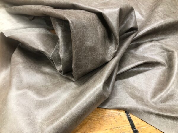Whole Hides Garment or Upholstery Leather in Dark Granite Distressed Gray