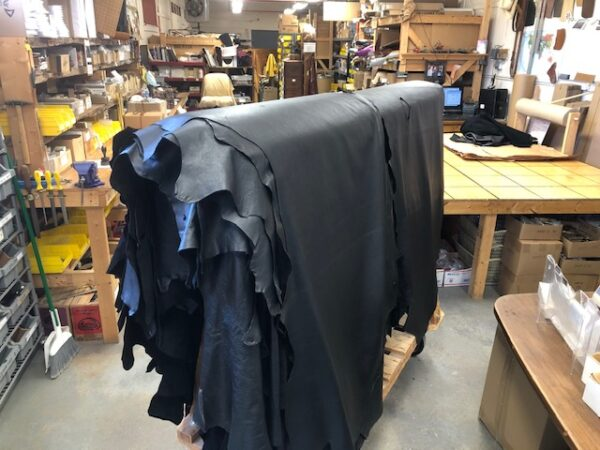 Black Garment Grade USA Cattlehide Sides are SOFT and Black
