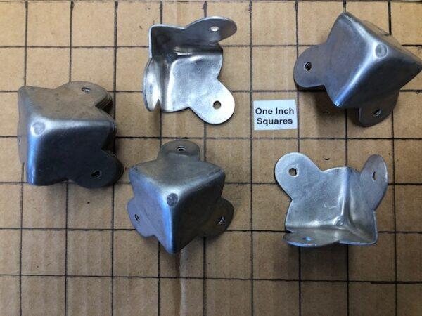 Old Stock Aluminum Trunk or Footlocker Corners Set of 4