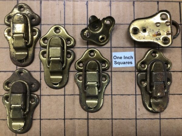 Rusty Brass Plated Hasps, Latches, or Drawbolts made by Excelsior in the 1930s