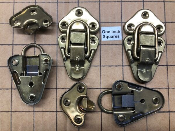 Excelsior Brand Old Stock Brass Plated Steel Medium Sized Hasps or Drawbolts Sold in Pairs
