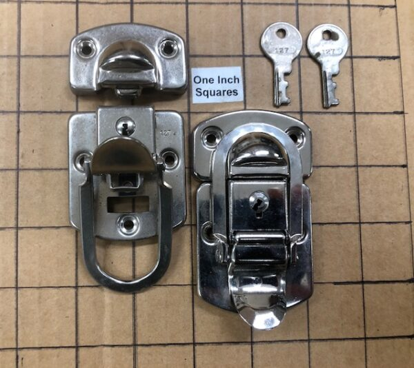 OSP-10 Old Stock Nickel Plated Drawbolt or Hasp Pair with Working Keys