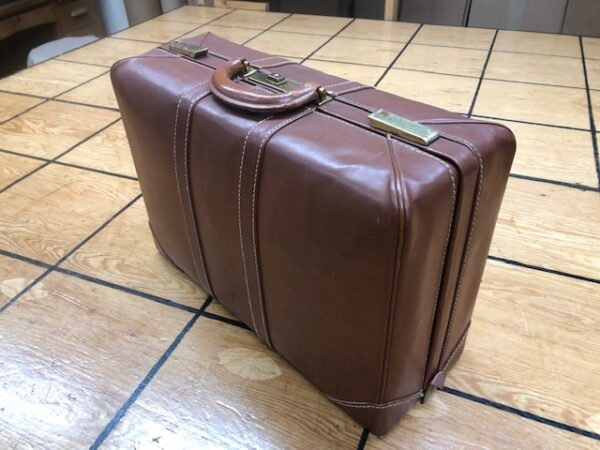 Olympic Luggage Vintage Suitcase with Leather Exterior and Nice Interior