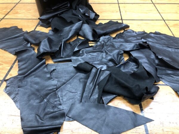 For Sale by the Pound Soft Shiny Black Garment Leather Scrap Pieces