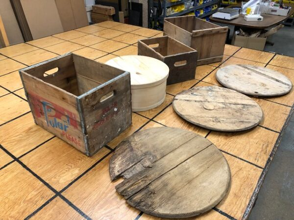 T-873: Collection of Wood Crates and Barrel Heads Sold as a Set