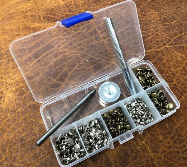 The BV Speedy Rivet Set - two sizes in two finishes - easy to set rapid rivets with tools included