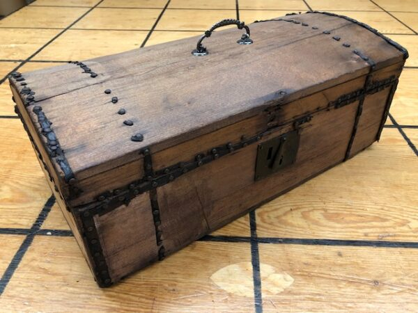 T923 Small Primitive Wooden Trunk with Brass Buttons