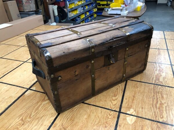 T926: Pre-Civil War Rounded Top Brass Bound Trunk