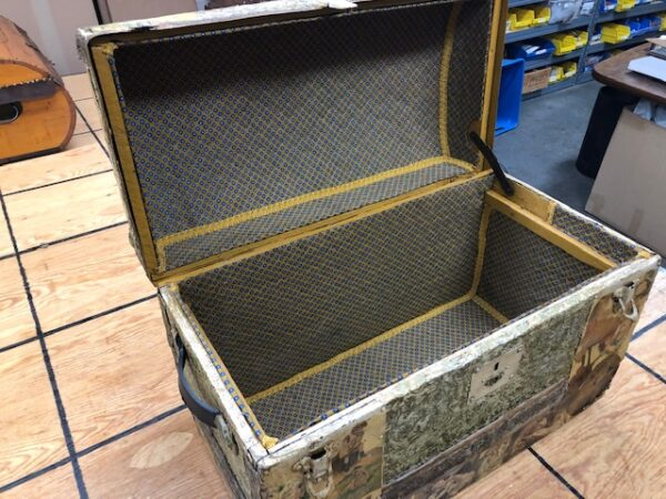 Small Decopage Camel Back Trunk For Sale