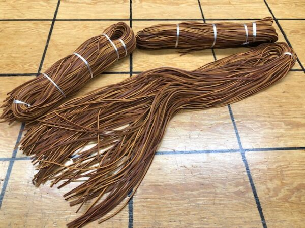 6-Foot Long Leather Laces in Hickory Reddish-Brown Oil Tanned Laces in pairs group of 10 or bundle of 100