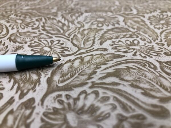 Buffalo Calf Whole Leather hide in Western Floral Embossed Pattern