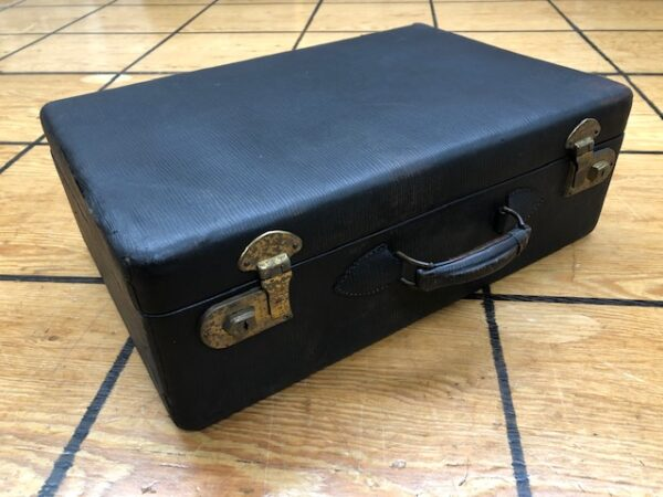 SC323 Small Black Suitcase from the 1930s with Hair brush and Comb Set Inside