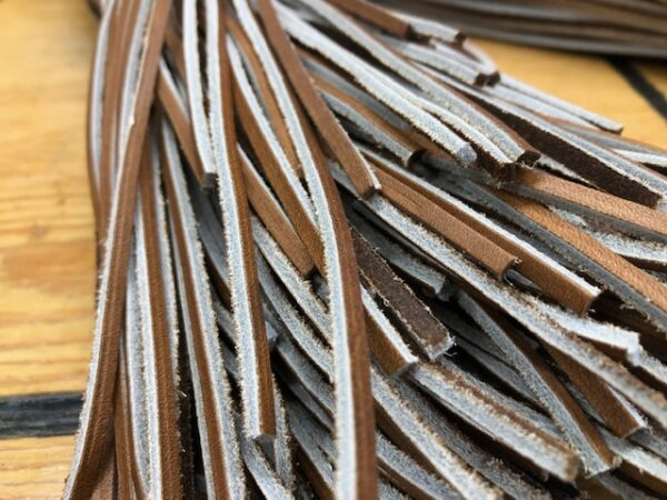 45 Inch Brown Leather Laces with Two-Tone Coloring, Pairs, Sets of 10, or Bundles of 100